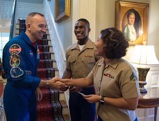 Astronauts Randy Bresnik and Paolo Nespoli Visit Marine Corps Barracks (NHQ201805070010)