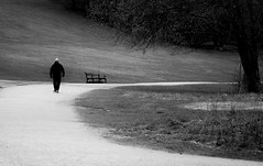 Alone (MortenTellefsen) Tags: 2018 mai alone bw blackandwhite blackandwhiteonly bergen ensom vei tur bench benk mann man walk monochrome road