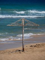 Protaras, Cyprus. Naked Umbrella. (CWhatPhotos) Tags: cwhatphotos bare naked umbrella waves waters man male 2018 april digital camera pictures picture image images photo photos foto fotos that have which contain olympus seafront golden coast beach blue sky skies sunny day holiday cyprus eastern protaras water sea deep color colour 43 micro four thirds penf sand sandy mediterranean parasol parasols sunbeds people sun bathing bathe holidays seascape