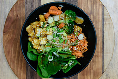 Food Photography - Buddha Bowl (Katherine Ridgley) Tags: food healthy vegetables spinach sesame carrot broccoli tofu onion onions greenonions wood board presentation buddhabowl vegetarian vegan vegetarianfood veganfood lunch meal kitchen cook cooking