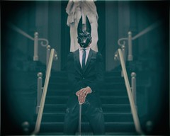 He Stands. (The Gentleman Dystopic) Tags: secondlife naberius chainbound mask deadwool gentleman suit tie portrait cyberpunk future corporate business scifi photograph insilico dystopia