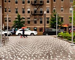 walking in the rain (richard binhammer) Tags: washingtondc street umbrella car bricks