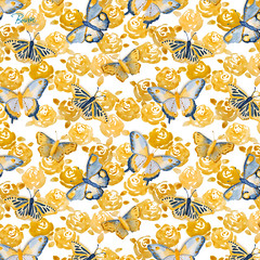 Butterflies 'n Roses (BoissinDesign) Tags: boissindesign watercolor butterfly butterflies yellow summer insects beauty painting rose roses flower flowers floral yellowandblue blueandyellow blue lightblue pattern seamlesspattern