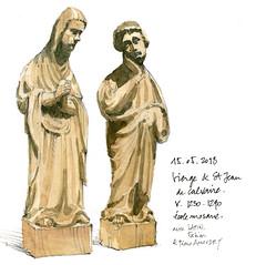 Vierge et St Jean, au Curtius (gerard michel) Tags: musée belgium liège grandcurtius sculpture gothique sketch croquis aquarelle watercolour