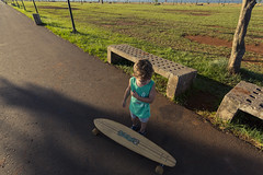 Ready to ride. (Pablin79) Tags: recreation path footpath boardwalk shorts dirtroad exploring grass longboard lines colors afternoon sunset road posadas misiones argentina kid child childhood shadows light outdoors