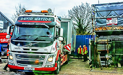 The Portakabin Arrives (M C Smith) Tags: volvo truck parked portakabin work site construction building pentax k3 red green blue hivi letters numbers symbols scaffolding van men container trees branches concrete orange sky grey lights