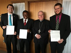 Senior seminarians from Buffalo receive their letters from Bishop Malone, appointing them to studies and continuing formation at Christ the King Seminary. April 23, 2018