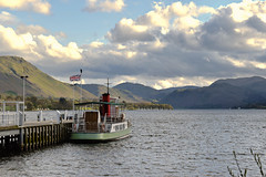 MV Western Belle Steamer, Ullswater, Pooley Bridge, Cumbria, England (vincocamm) Tags: lake ullswater steamer pooleybridge jetty fells cumbria england flag ship clouds cloudy blue green red