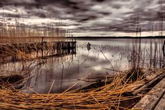 Moody Seaside (Jens Haggren) Tags: moodyseaside sea seaside jetty bridge water sky clouds reed reflections view landscape nature mood atmosphere longexposure le nacka sweden jenshaggren