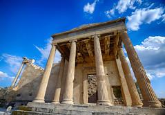 Temple at the Acropolis in Athens, Greece (` Toshio ') Tags: toshio athens greece acropolis europe greek athena temple european ancient ruins sky erechtheion erechtheum columns fujixe2 xe2 europeanunion acropolisofathens