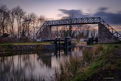 Ribbontail Bridge (cogy) Tags: ribbontail royal canal moyvalley kildare ireland greenway way waterwaysireland sunset cloud longexposure lock gate