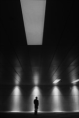 "F_47A3515-1-Canon 5DIII-Canon 24-105mm-May Lee 廖藹淳 (May-margy) Tags: ""canon24105mm"" maymargy bw 黑白 人像 背影 剪影 頂燈 走道 線條造型與光影 linesformandlightandshadow 天馬行空鏡頭的異想世界 mylensandmyimagination 街拍 streetviewphotography 心象意象與影像 naturalcoincidencethrumylens 幾何構圖 humaningeometry 點人 新北市 台灣 中華民國 taiwan repofchina f47a35151 portrait viewfromback hall lights silhouette ceiling light newtaipeicity canon5diii maylee廖藹淳"