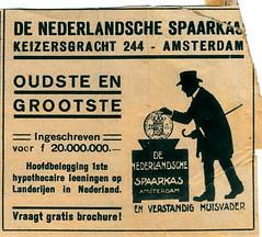 de stad Amsterdam 1923 adv Nd Spaarkas (janwillemsen) Tags: advertising amsterdam 1923 magazineillustration
