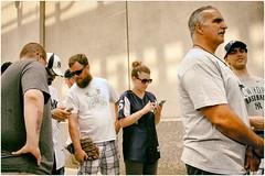 We are the New York Yankees (Steve Lundqvist) Tags: york usa states united america manhattan stati uniti travel trip viaggio traveling bw urban city urbanscape portrait ny nyc persone ritratto crossing street road fujifilm x100s streetphotography yankees baseball fans supporters team sport cap hat stadium structure bronx new