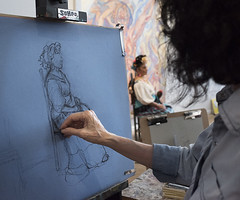 Drawing Frida (moreanartscenter) Tags: drawing frida sketch art gallery morean class student charcoal