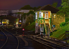 Swanage at Night (Trev 'Big T' Hurley) Tags: swanage signalbox preservation night 20142 d7017 d6515 33 20 35 hymek chopper wardrobe crompton 20007