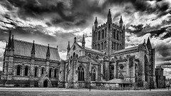 Hereford Cathedral (David Feuerhelm) Tags: monochrome blackandwhite bw noiretblanc schwarzundeiss contrast wideangle building cathedral tower windows clouds serene hereford england nikon d750 2470mmf28
