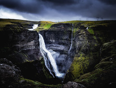 Haifoss Waterfall, Iceland (deanallan) Tags: art adventure beauty cascade fear iceland landscape light midnight sun photography rock scenic sunset travel view valley water waterfall