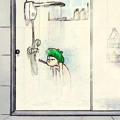 Ribbit (Gustavo Rinaldi) Tags: illustration drawing art digitalillustration digitalart digitalpainting photoshop gustavorinaldi girl shower showercap