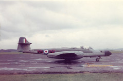 WS776. Royal Air Force Gloster Meteor NF.14 (Ayronautica) Tags: 85sqn military 1958 glostermeteornf14 ws776 royalairforce raf fighter ayronautica aviation scanned prestwick egpk pik