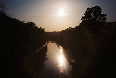 Gaol Ferry Bridge evening (knautia) Tags: riveravon gaolferrybridge bristol england uk may 2018 film ishootfilm olympus xa2 fuji superia 400iso olympusxa2 nxa2roll14 river avon bridge footbridge myfavouritefromtheroll