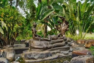 Bronze sculpture in the Garden of the Gods in Muang Boran in Samut Phrakan near Bangkok, Thailand