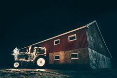 Christmas in Norway (nikolasgogstad) Tags: tractor south norge norway christmas xmas holiday winter lights dark night