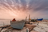Boats moored on artificial cliff . Pellestrina Venice (franco nadalin) Tags: boat cliff clouds fishing sea seascape ship sky stone sunset water landscape venice isla pellestrina island lagoon moored italy