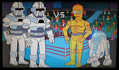 R2-D2 and Threepio Star Wars VS Cylon 1493 (Brechtbug) Tags: meet dr smith the simpsons jonathan harris aka doctor dick tufeld voicing b9 robot from 1960s television scifi series lost in space animation bimonscificon convention new jersey springfield 1965 tv show portraits portrait jonathen zachary screen grab screengrab simpson matt groening fox 2018 nyc cartoon character yellow figures family comedy funny doh d oh mayored mob 9th episode 10th season 1998 december 122098 r2d2 threepio star wars vs cylon