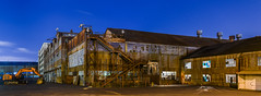 plate shop building 12 pre-demolition (pbo31) Tags: sanfrancisco bayarea california nikon d810 color night dark may 2018 boury pbo31 city urban panoramic large stitched panorama blue centralwaterfront pier70 forestcity industrial warehouse demolition site brown historic construction dogpatch