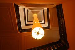 Yellow beam III (Elbmaedchen) Tags: allegutendingesinddrei treppenhaus staircase stairwell architektur architecture interior hotel berlin kreuzberg stufen upstairs roundandround