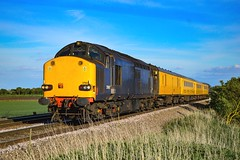 37607 + 37612 - North Fen - 13/05/18. (TRphotography04) Tags: ex drs blue harry needle railroad comopany hnrc 37607 37612 top tail network rail test train past north fen little downham with 1q14 1432 norwich derby rtcnetwork