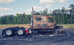 Burned-out Truck - Kodak Ektar Film (Neal3K) Tags: burnedtruck burned semitruck kodakektar100 120film fujigsw690iii georgia henrycountyga
