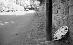 post cap (Gabo Barreto) Tags: leeds yorkshire england post hub cap wall descarted stone blackandwhite film svema200 leicam selfdeveloped scannedfromfilm kodak xtol analoguephotography filmisnotdead ishootfilm 35mm rangefinder jupiter12 135 monochrome
