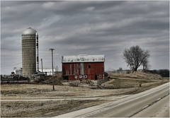 Silo And A Red Barn (raymondclarkeimages) Tags: raymondclarkeimages 8one8studios google usa rci outdoor yahoo flickr smugmug 70200mm silo farm 6d sky clouds canon barn landscape road picture country whiteborder print painting tree land property