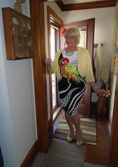 I Think I've Got The Whole Spectrum Of Colors Pretty Much Covered (Laurette Victoria) Tags: sweater dress floralprint laurette lady woman pumps blonde