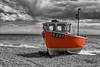 BRANDSCOMBE BEACH (mark_rutley) Tags: brandscombe devon colourpop selectivecolour fishingboat clouds sky sea coast blackandwhite
