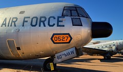 USAF Douglas C-133B Cargomaster c1959 - Pima Air & Space Museum, Tucson, Arizona.. (edk7) Tags: nikond3200 edk7 2013 usa arizona tucson arizonaaerospacefoundation pimaairspacemuseum unitedstatesairforce usaf militaryairliftcommand douglasc133bcargomaster 590527 195770s strategic airlifter transport plane turboprop military airplane aircraft aviation prattwhitneyt34p7waturboprop6500shp cockpit sky radome window door nosewheel