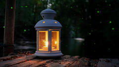 River lullaby (Parchman Kid (Jerry)) Tags: river lullaby candle lantern nahe evening parchmankid sony a6500 trees raft rafting tom sawyer ilce6500