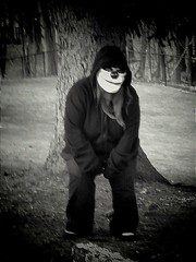 Anyone seen my bear (PhotoJester40) Tags: outdoors outside cemetery bnw blackandwhite bw noirblanc clown mask pet laughing posing longhaired gloves hoodie halloween amdphotographer chain