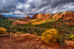 Sun and Clouds along Schnebly Hill Road (William Horton Photography) Tags: arizona merrygoround nikon schneblyhillformation sedona agave blue butte buttes clouds color desert desertplants dramatic horizontal landscape morning nature orange outdoor plants rabbitbrush redrock rockformations sandstone scenic stormclouds