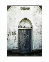 mortuary     door (photoABRUZZO) Tags: mortuary door blue barred locked padlocks hasps rust white flickrexploreme