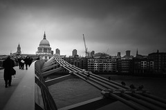 Talking a walk in London (lja_photo) Tags: millenniumbridge street travel tourism tower themse textures stpaulscathedral white water europe exploration exposure england river reflections urban outdoors photography person people pedestrian architecture architectural art artificial animal birds sky streetphotography shadows stream skyline dramatic detail design fineart houses fujixt20 uk light landmark contrast clouds city cityscape viewpoint black blackandwhite bw bnw blackandwhitephoto monochrome monotone monoart moody morning