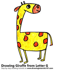 Giraffe from Letter G (drawingtutorials101.com) Tags: giraffe from letter g with animals letters sketching pencil sketch sketches draw drawing drawings color colors coloring pencils how speed