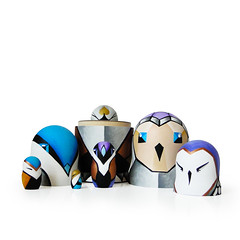 DSC07333 (fortmoon) Tags: techno owls etsy fortmoon azure bronze matryoshka dolls violet art handpainted interior cyber computer style gold grey white creatures character design family ecofriendly decor wooden