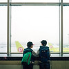 Airport stories (dmitry sovyak) Tags: 120mm analog autocord film grainisgood kodak mediumformat portra portra400 tlr epsonv700 v700 moscow russia airport flight plane s7 boy kids