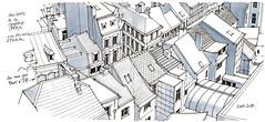la rue du Pont-d-île (gerard michel) Tags: belgium liège rue sketch croquis
