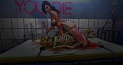 Game Over...YOU DIE (Torrie' Fookernut) Tags: cranked suicidedollz blood skeleton die gameover secondlife sl horror asylum crazy knife virtualworld avatar avi dark hospital mental