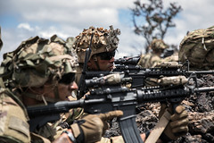 """U.S. soldiers provide security during a Combined Arms Live Fire Exercise at Pohakuloa Training Area, Hawaii (#PACOM) Tags: calfex uh60 pta hawaii 25thid 25thinfantrydivision 2ndsquadron 14cavalryregiment ranger airassault security landingzone combinedarmeslivefireexercise m4 tropiclightning schofieldbarracks unitedstates us """"uspacificcommand pacom"""""""