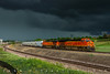 Stormy Sand Train (Colorado & Southern) Tags: bnsfrailway bnsf geet44c4 gees44dc sand sandtrain thunderstorms storm storms trains train railfanning railroad railfan railway railroads railroading rail rr railroadtrack rain colorado coloradotrains coloradorailroads hoppers locomotive locomotives